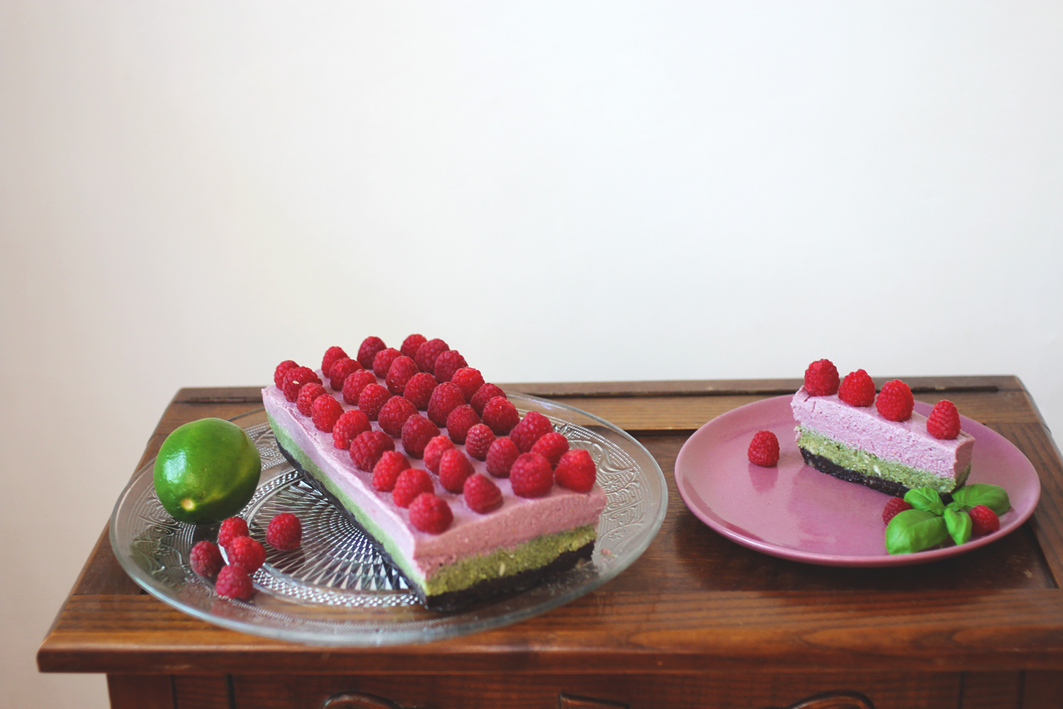raw matcha raspberry cake