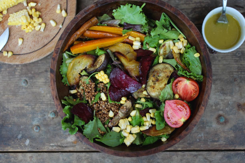 autumn roasted veggie salad