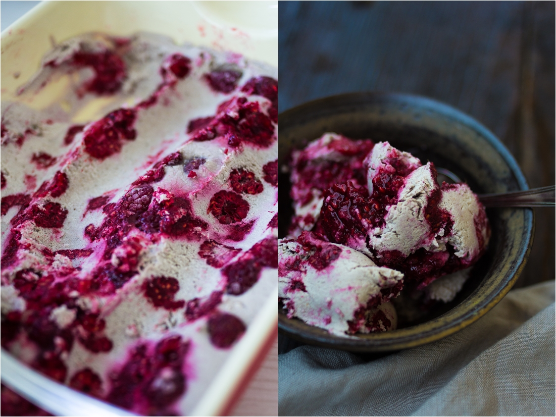 vegan vanilla raspberry ice cream