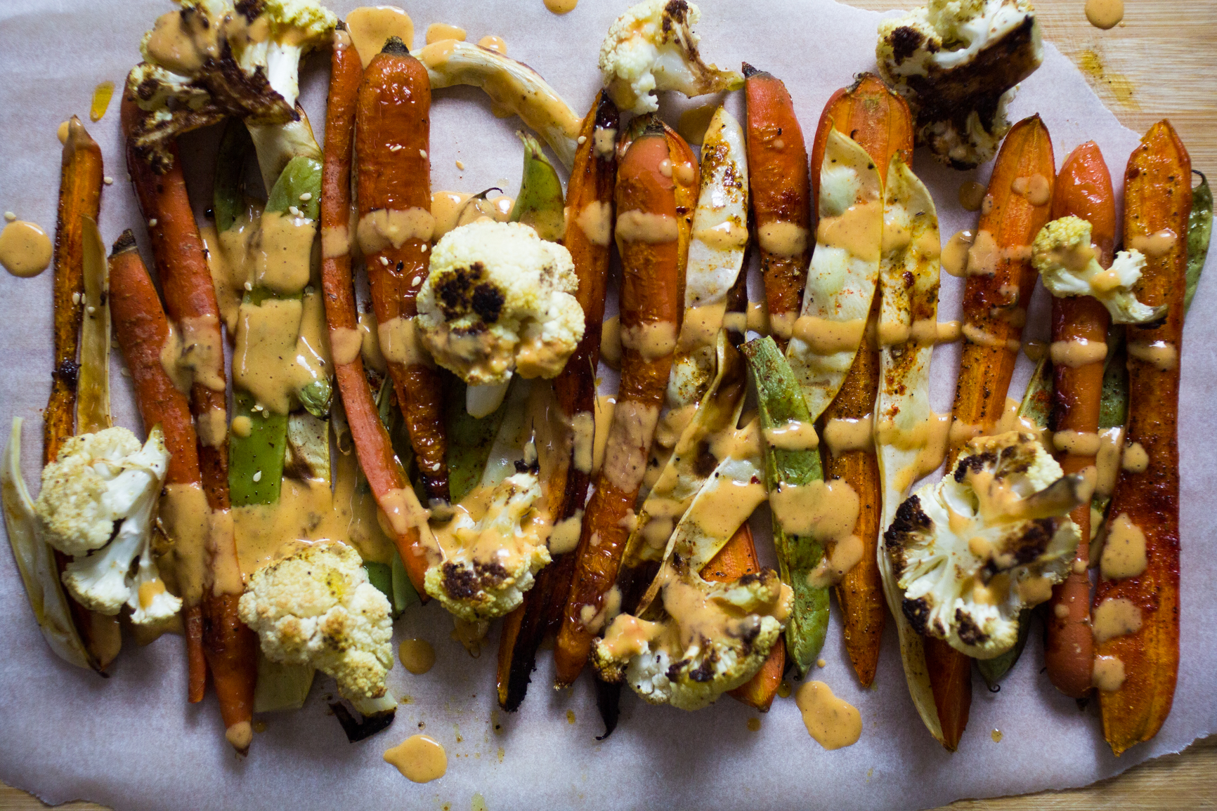 roasted veggies with aromatic sauce