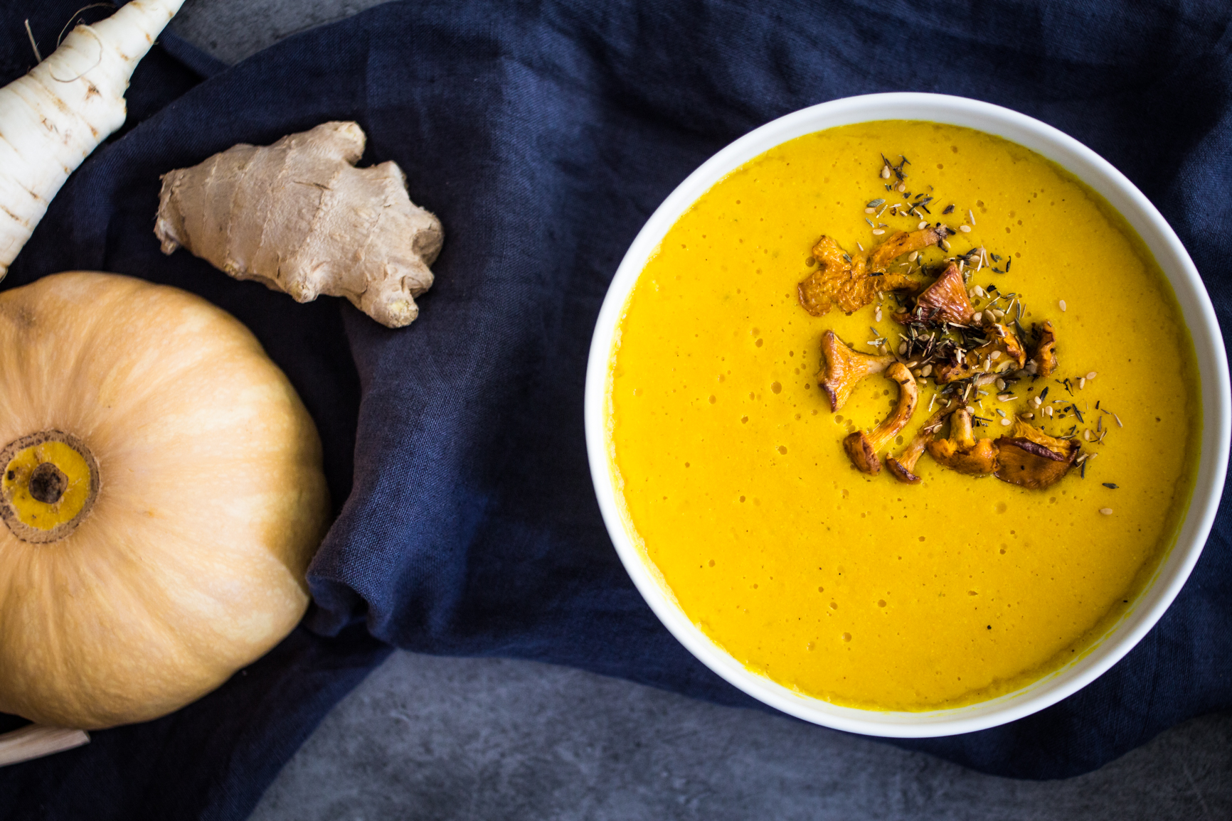 red lentils pumpkin cream soup