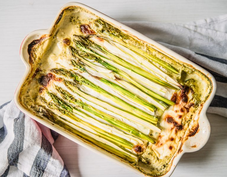 zuccini lasagna with spinach and asparagus