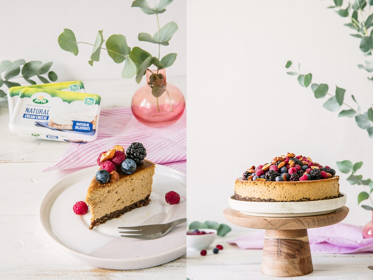 gluten free almond cheesecake with berries